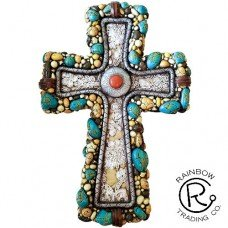Turq & Stone Wall Cross