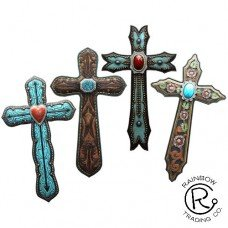 Leather Concho 10 Wall Cross