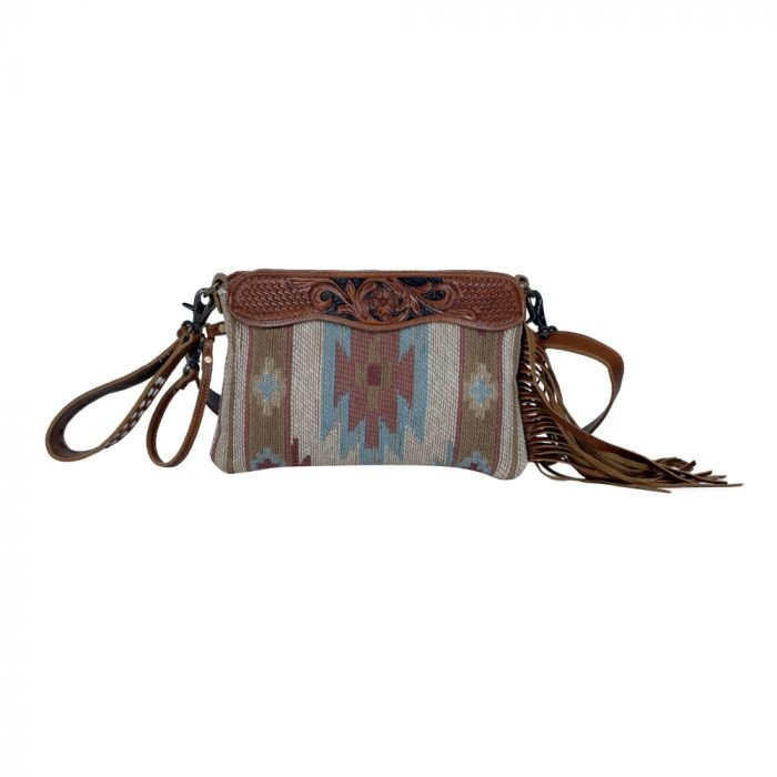 Brown Tassles Hand-Tooled Bag