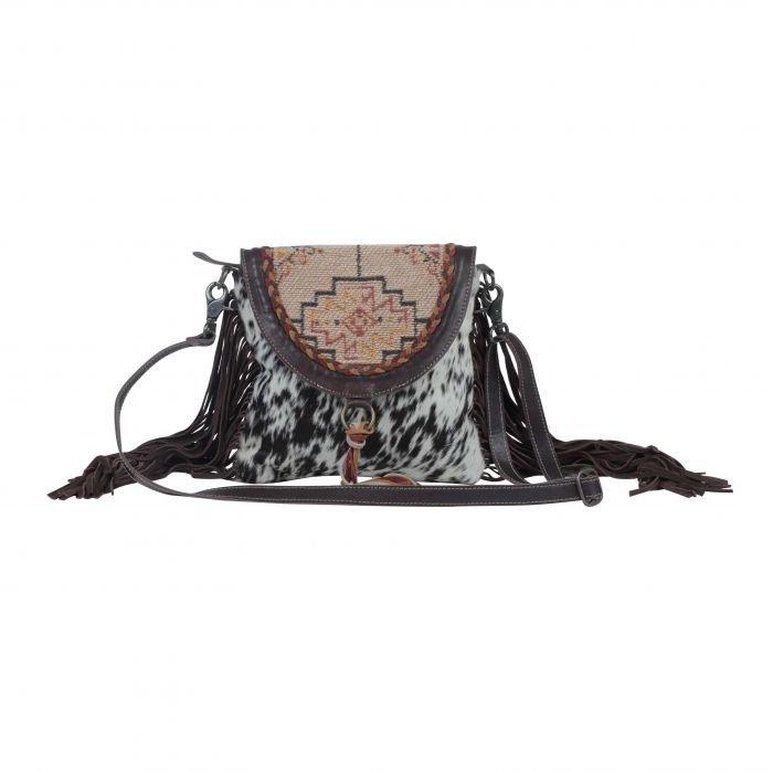 Monochromatic Speckles Leather & Hairon Bag