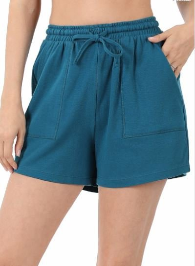 Teal Cotton Shorts
