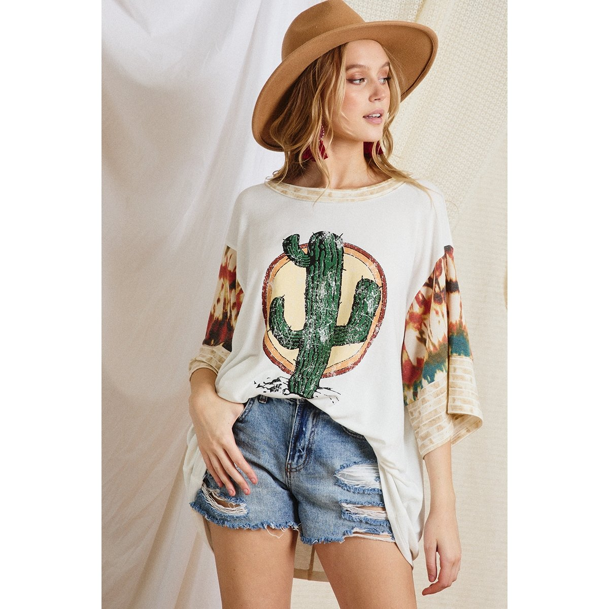 Cactus on Front with Pattern Sleeve Top