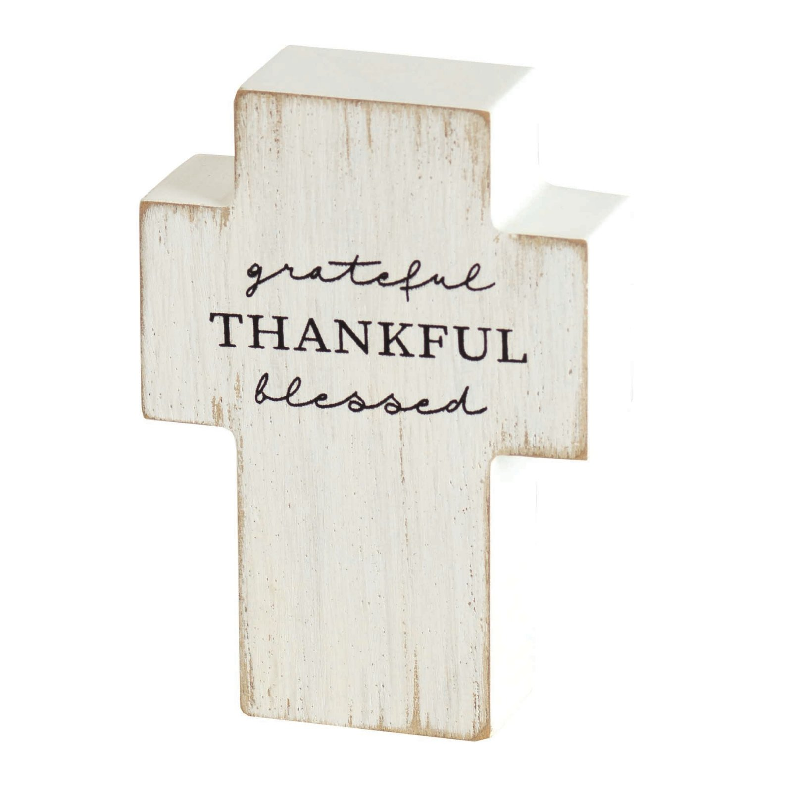 Grateful Thankful Blessed Tabletop Cross