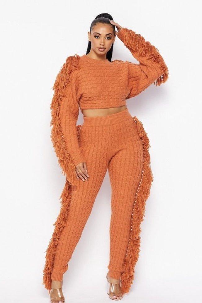 Fringe Sweater Set