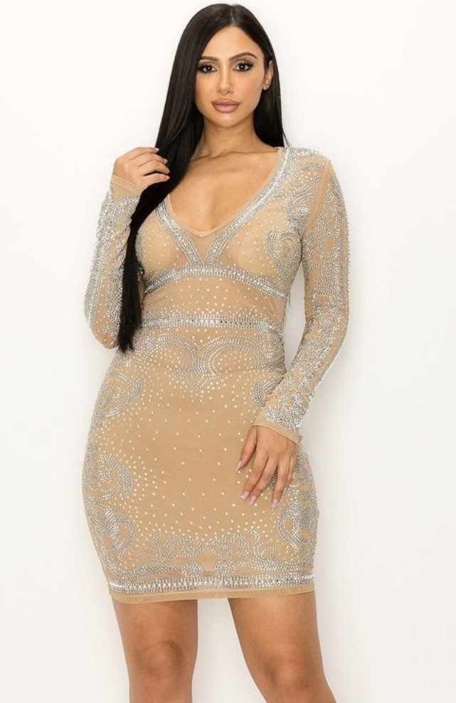 V Neck Rhst Mini Dress