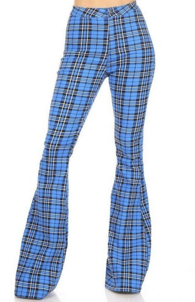Plaid HW Flare Pants