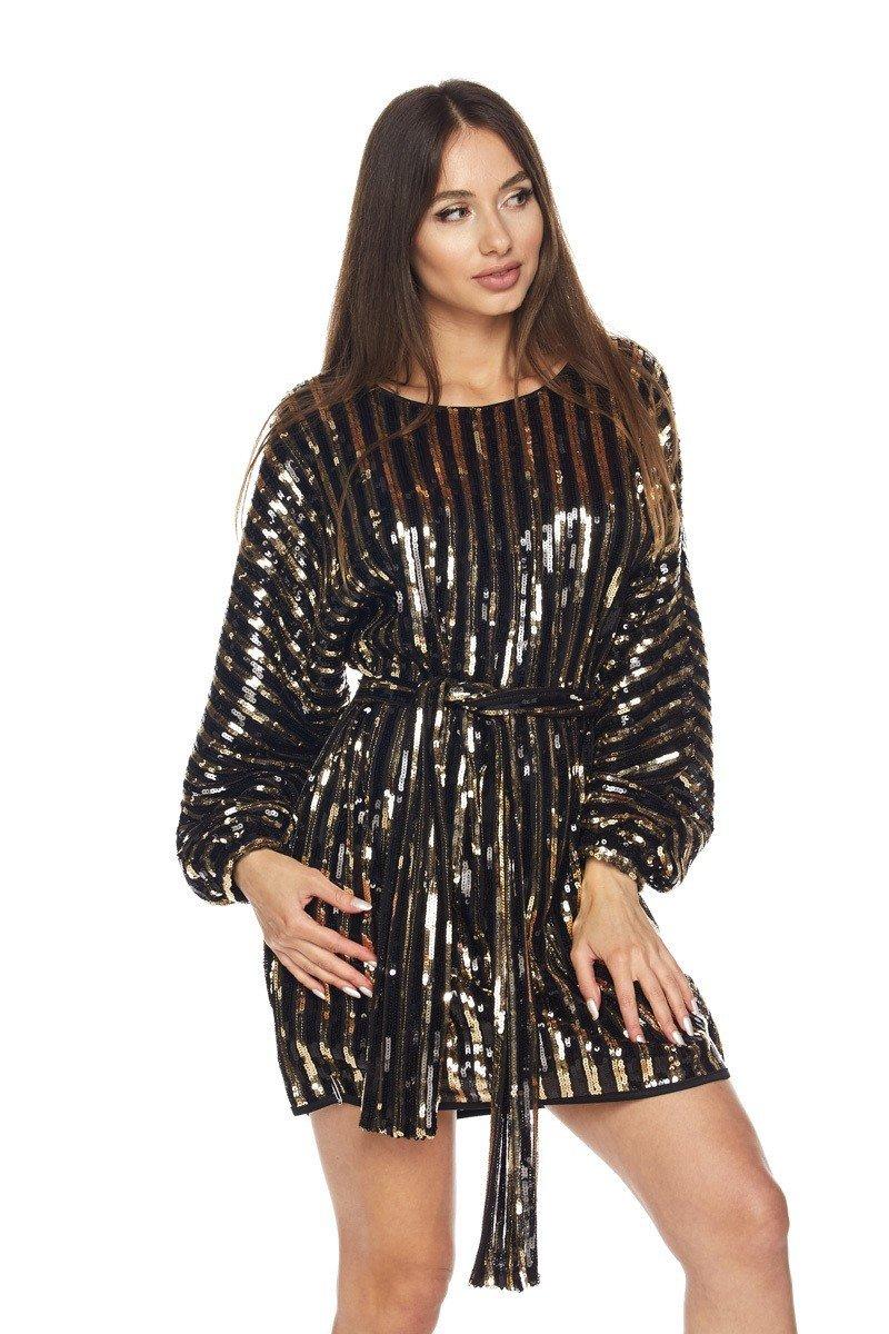 Stripe Sequin Dress w/belt