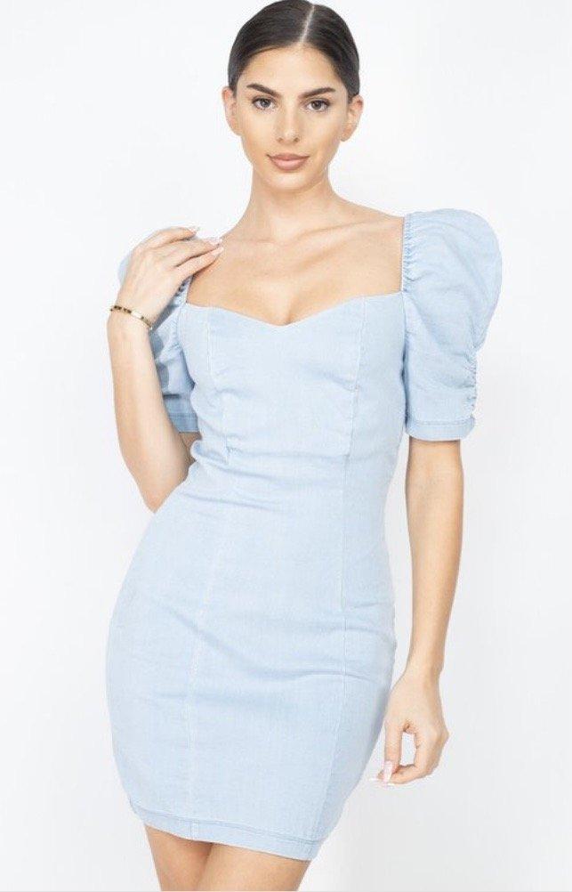 Sassy Denim Puff Dress