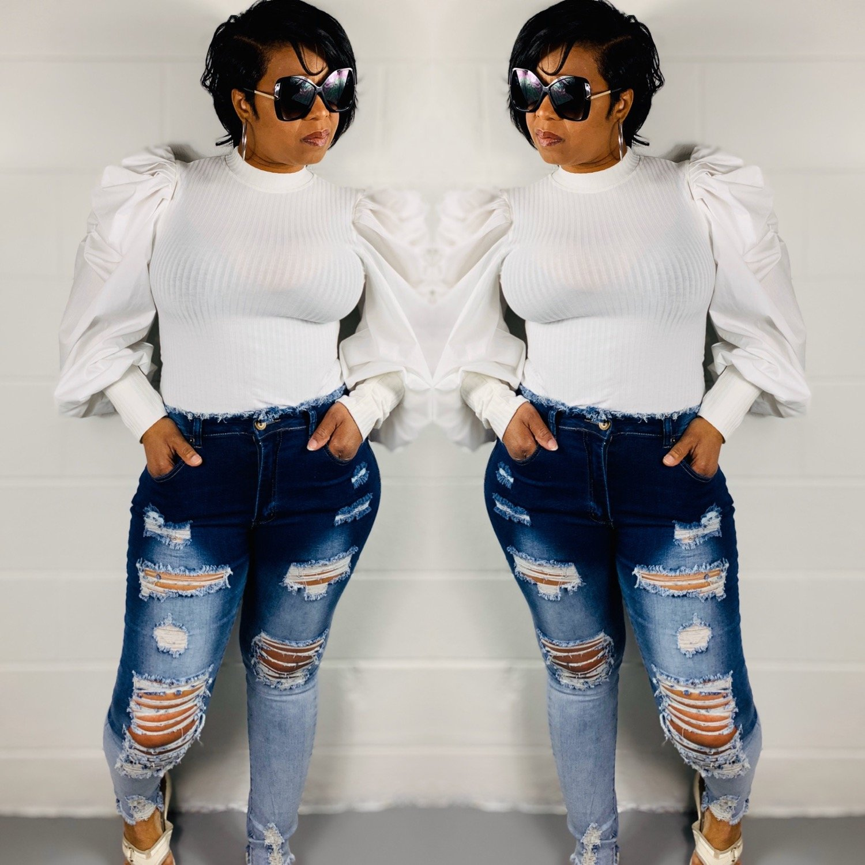 Hi Waist Ripped 2 tone Jeans