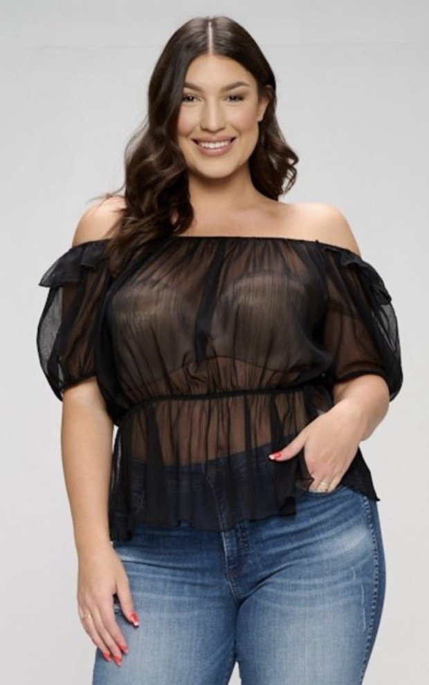 Off Shld See-Through Top