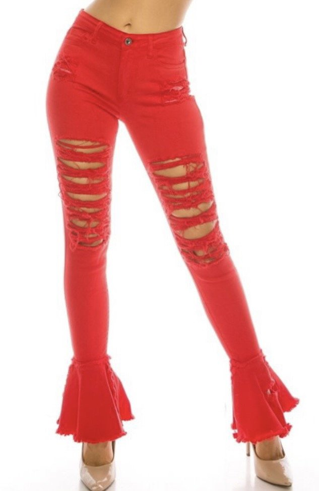 Red Ripped Flare Jean