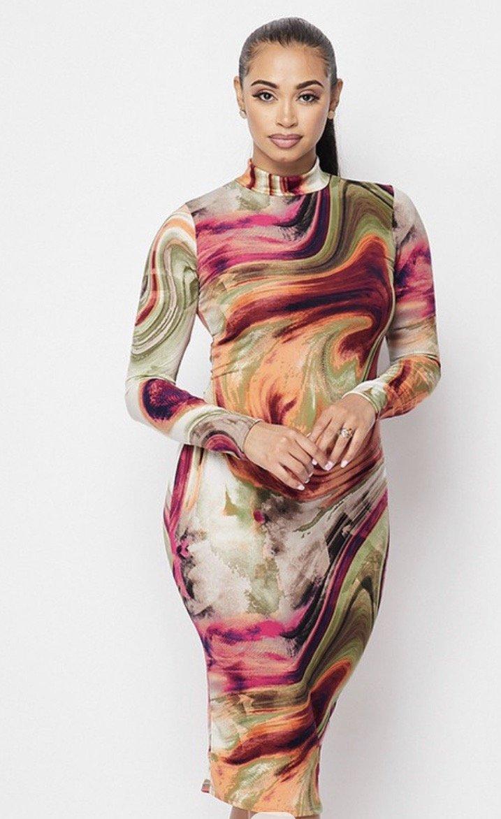 Multi-color Mock Nk Dress