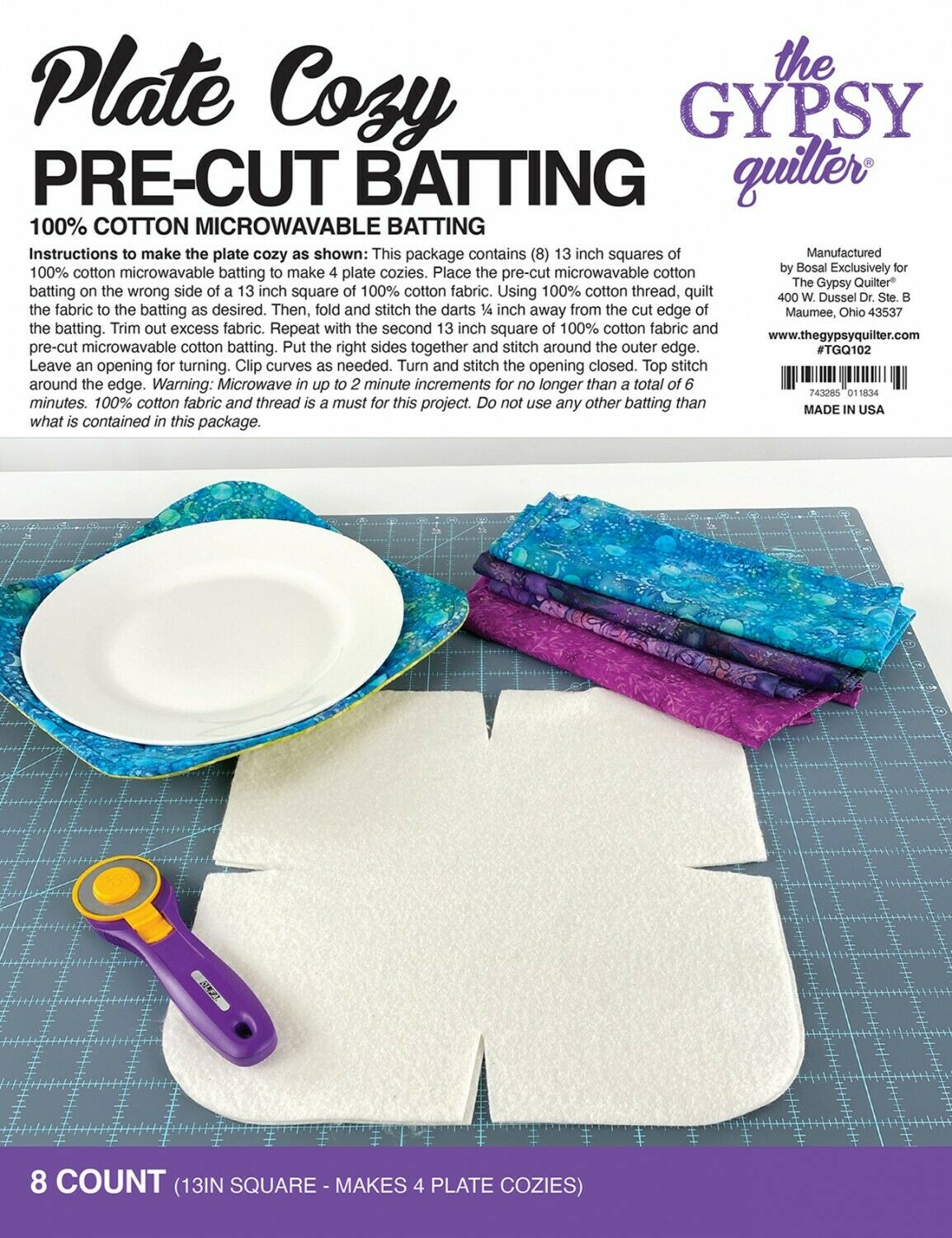 Cozies Plate or Large Bowl by The Gypsy Quilter Pre Cut Batting