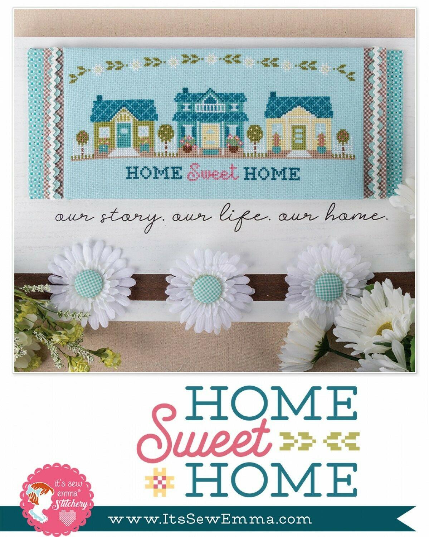 Home Sweet Home Cross Stitch Pattern w/DMC threads- by It's Sew Emma