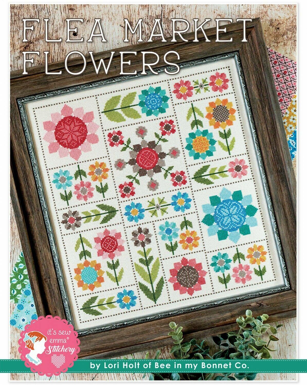 Flea Market Flowers Cross Stitch Pattern by Lori Holt w/DMC Threads