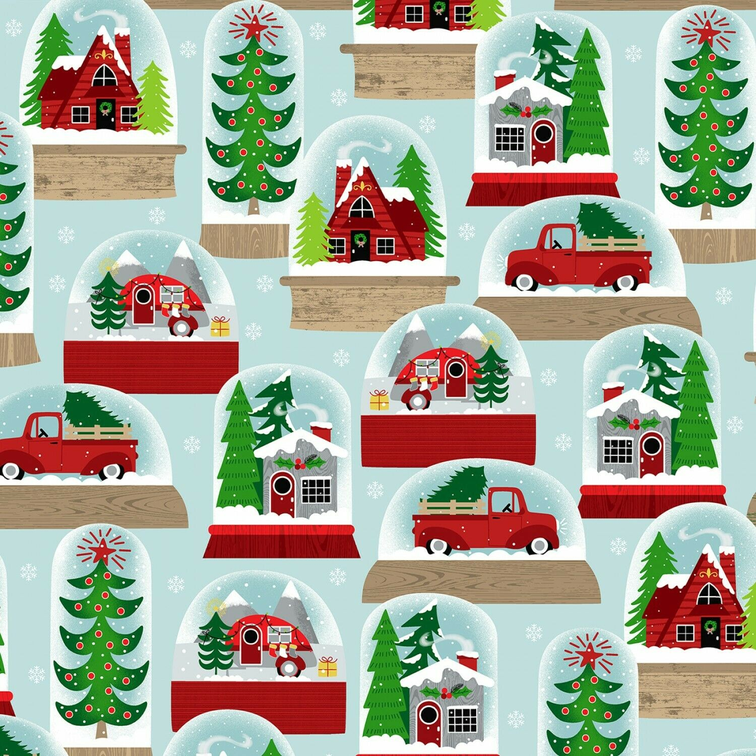 Cozy Snowglobes Fabric Sky Blue by Kanvas  SBY