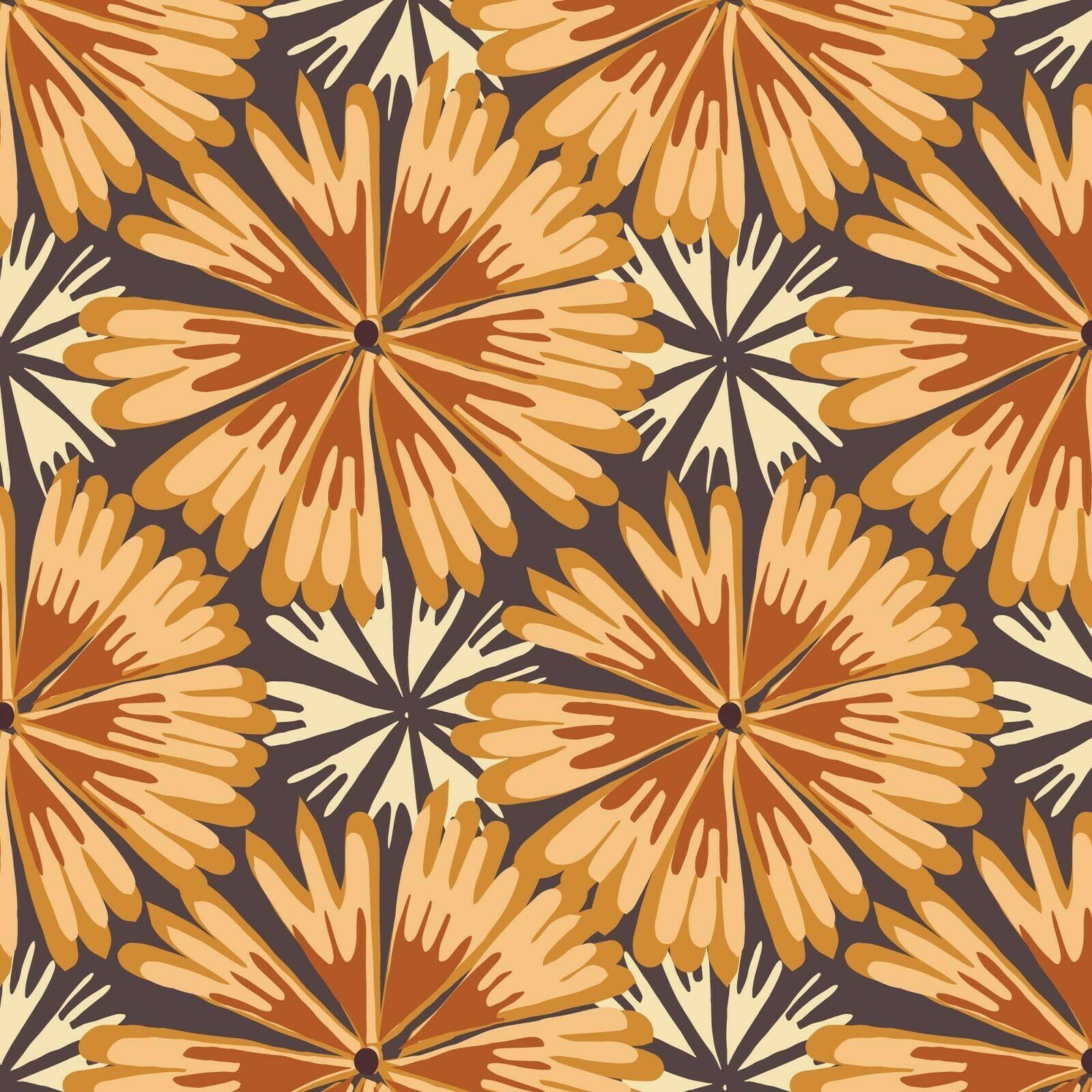 Bloom Full Bloom Flowers Fabric (Orange) by Paintbrush Studio SBY