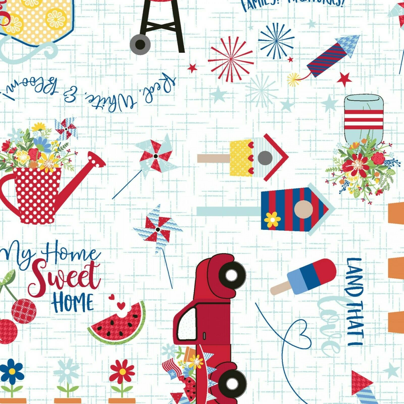 RED,WHITE & BLOOM FABRIC COLLECTION White by Maywood Studio SBY