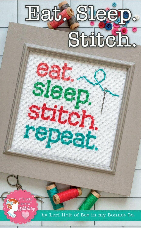 Eat. Sleep.Stitch.Repeat. Cross stitch pattern by It's Sew Emma