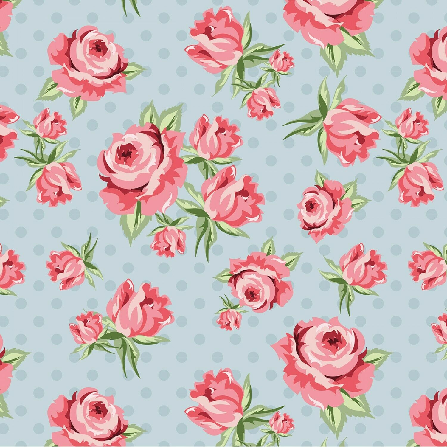 Blue Prize Roses Fabric-Dots & Posies Collection by Poppie Cottons SBY