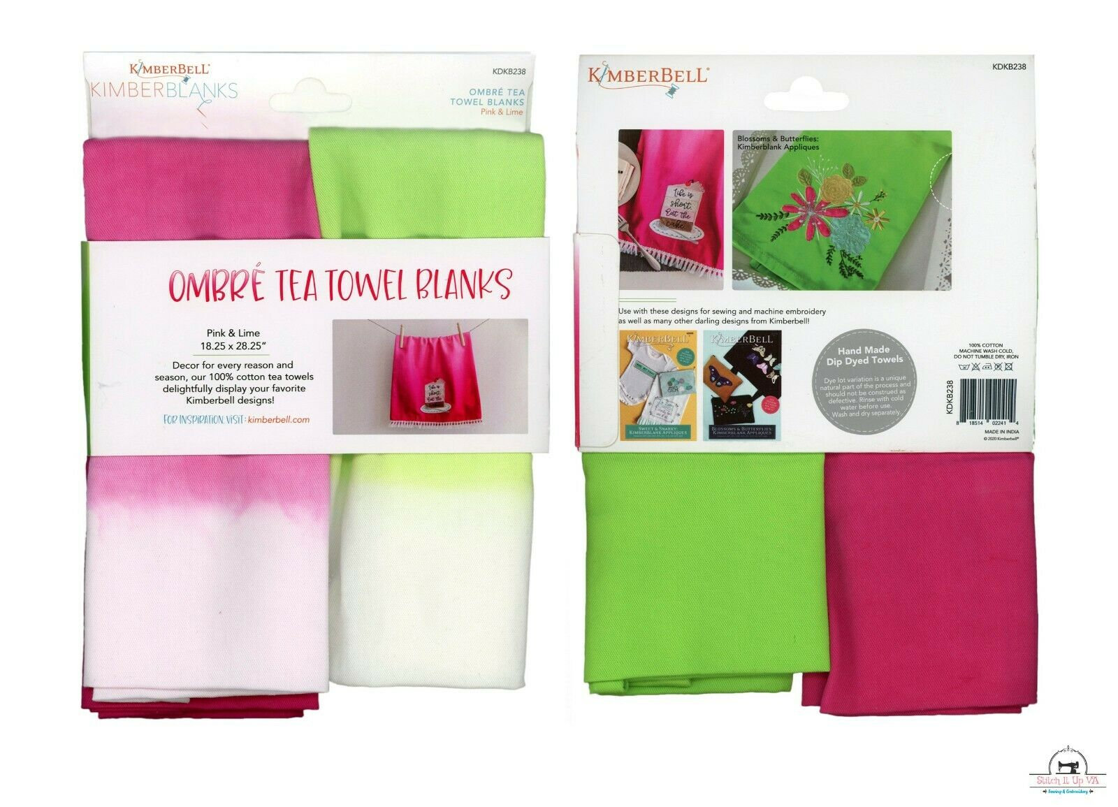 Kimberbell February Fill in The Blank Ombre Tea Towels Blanks  (1 Set of 2)
