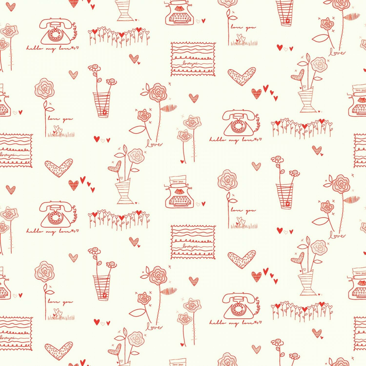 From the Heart Fabric Cream by Riley Blake SBY