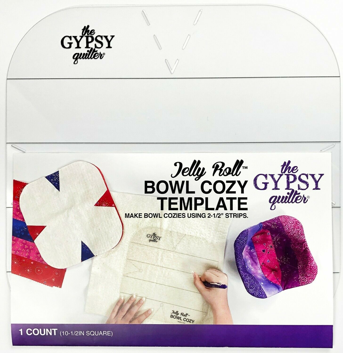 Jelly Roll Bowl Cozy Template by The Gypsy Quilter