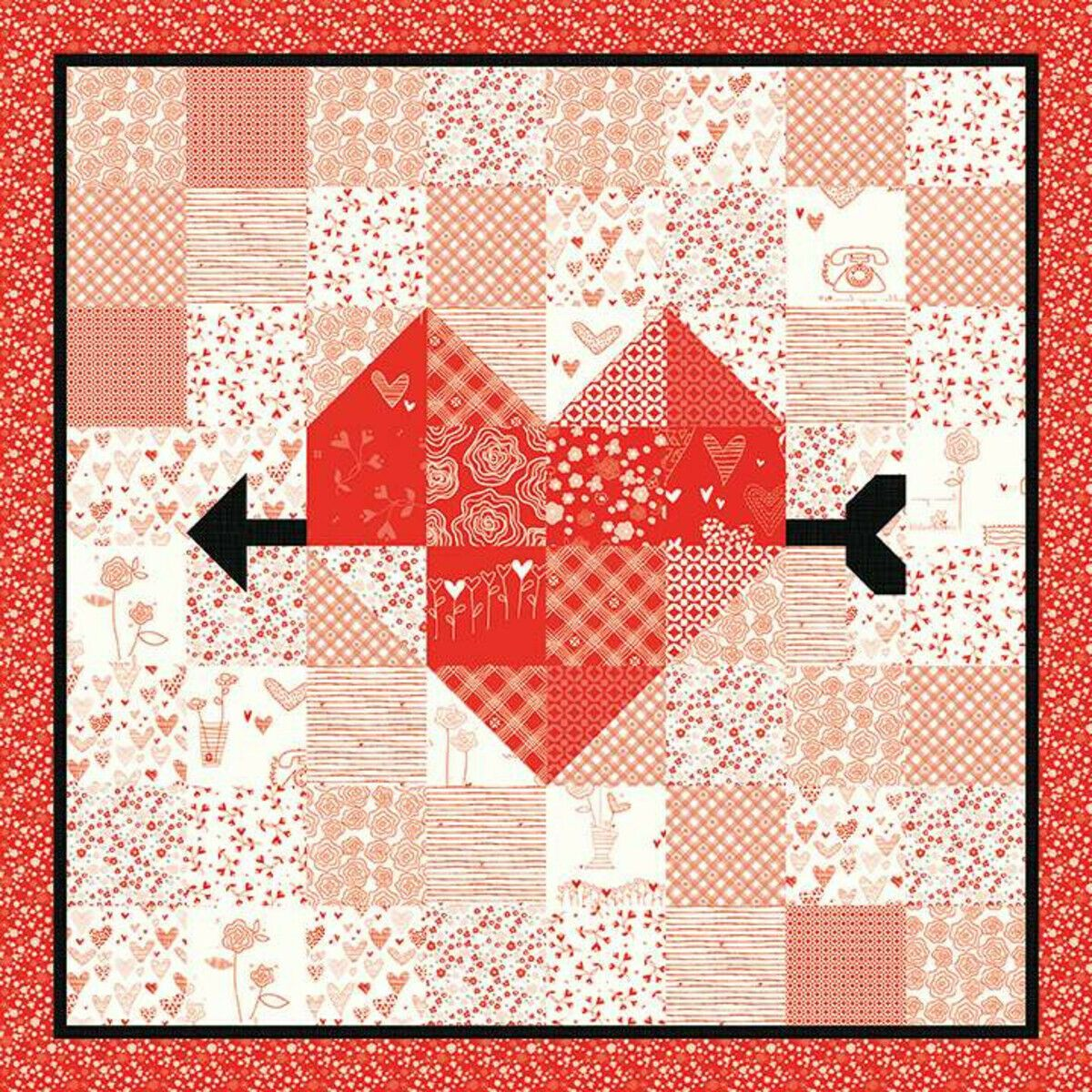 ARROW HEART QUILT and TABLE RUNNER PATTERN by Sandy Gervais