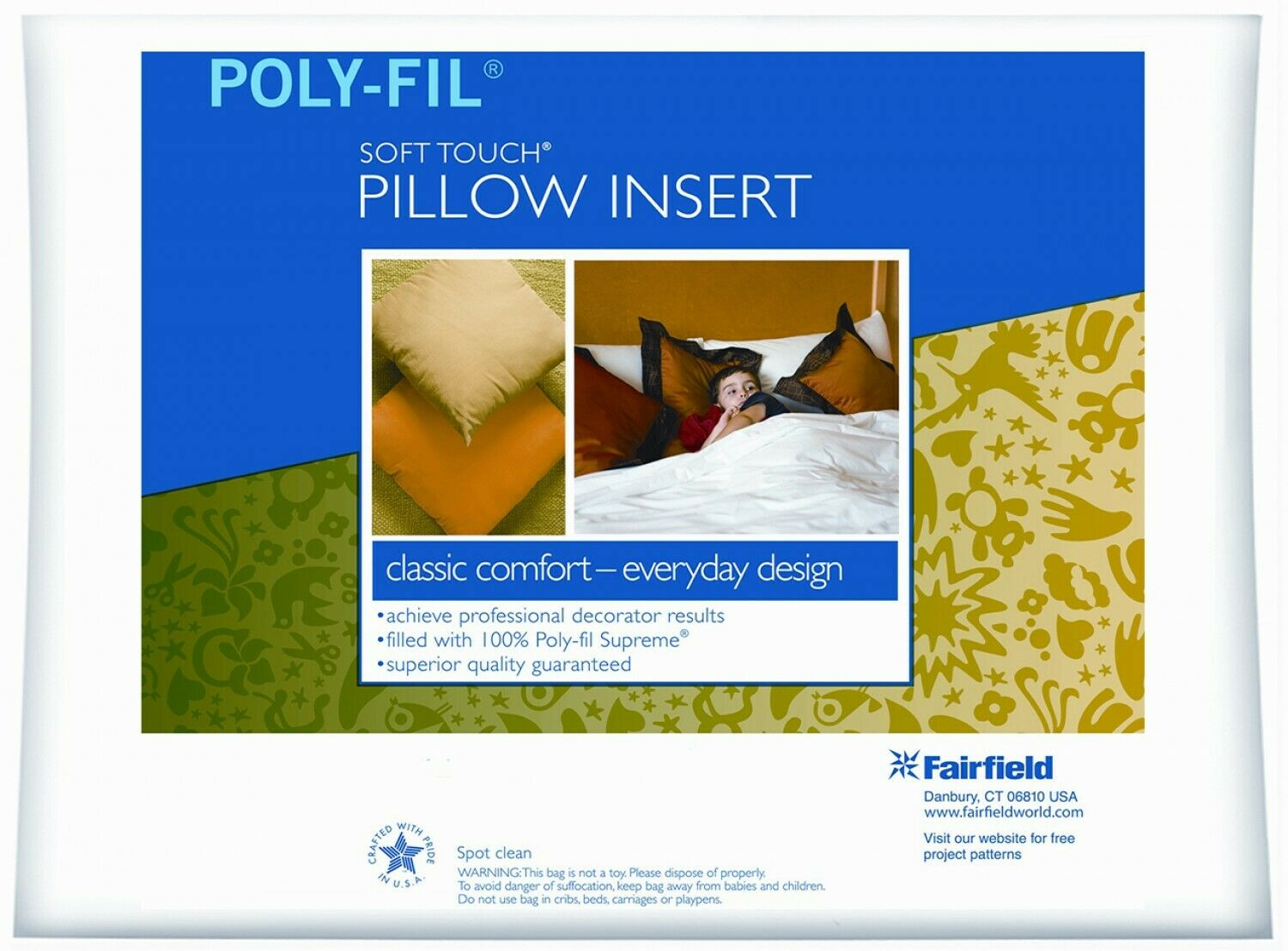 Pillow Insert 18x18 Square Poly-Fil Soft Touch by Fairfield
