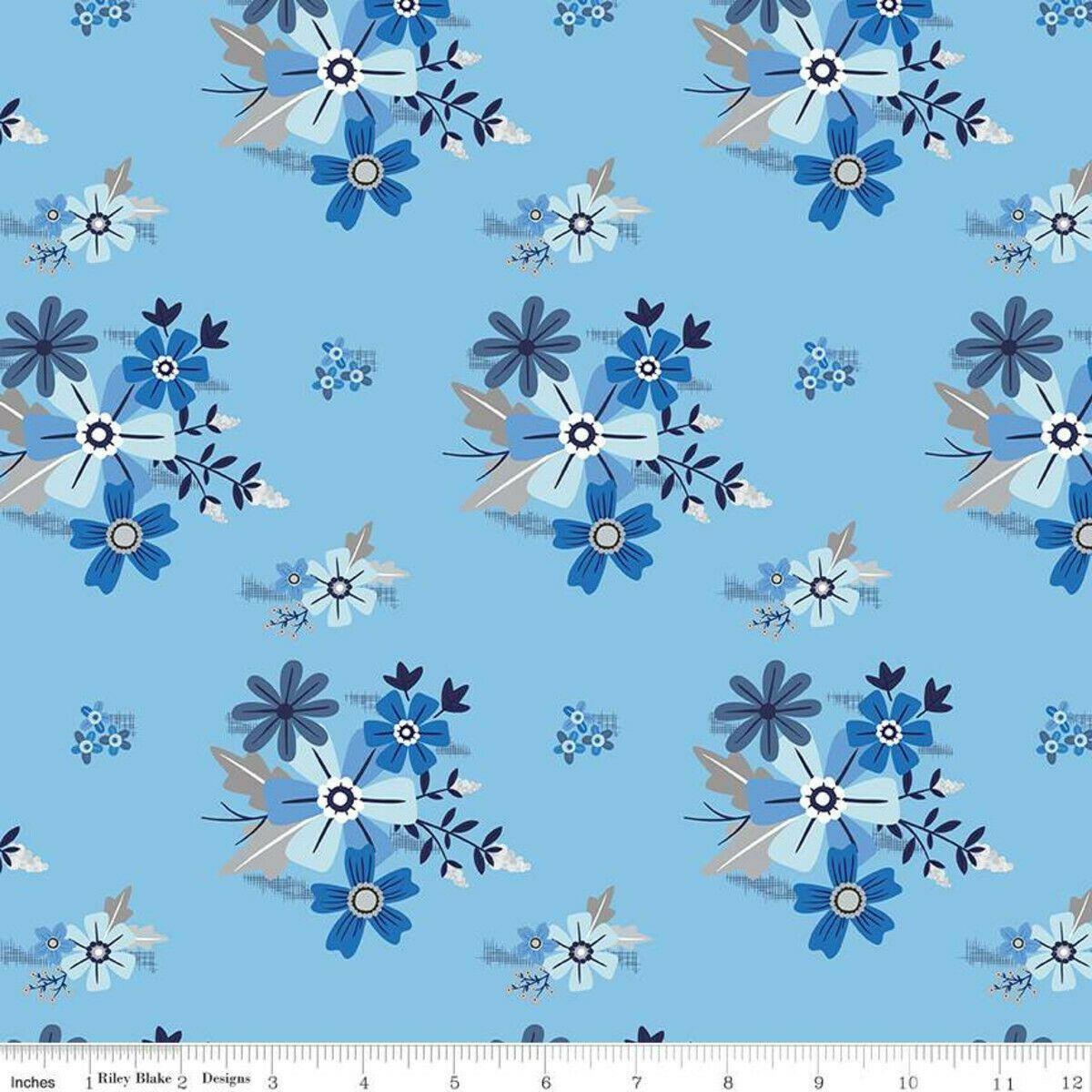BLUE STITCH MAIN FABRIC SKY by Riley Blake