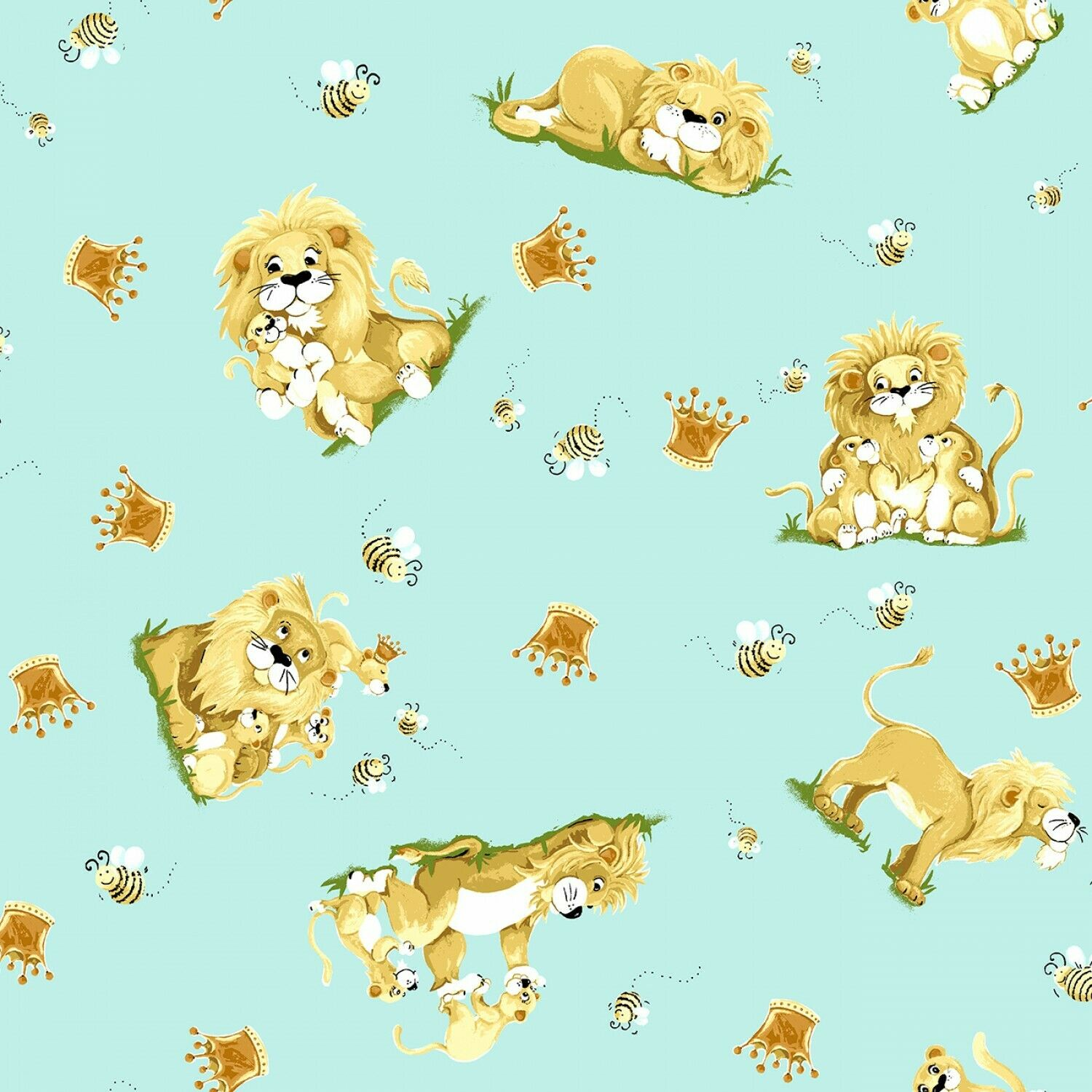Light Blue Lyon the Lion Toss Cotton Fabric by Susybee SBY