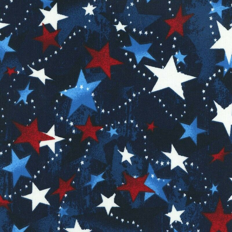 Patriotic Prints Tossed Stars Fabric by Galaxy Sold by the Yard