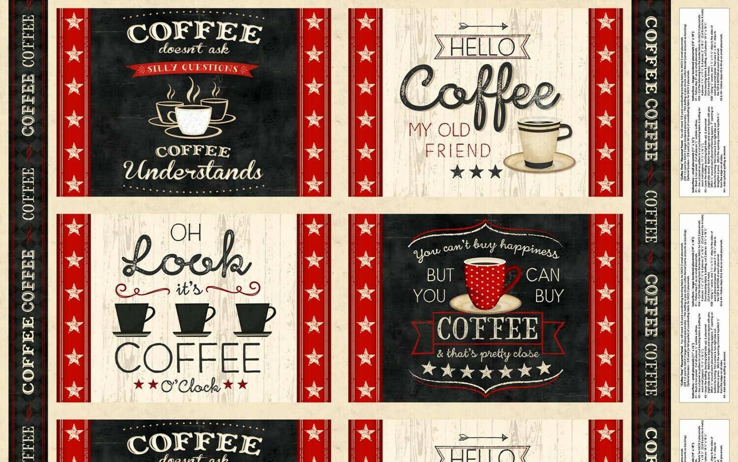COFFEE TIME PLACEMAT PANEL by Wilmington Prints Sold by the yard