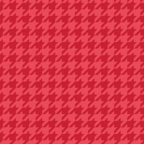 RED TONAL HOUNDSTOOTH COTTON FABRIC by Kimberbell Designs Sold by the Yard