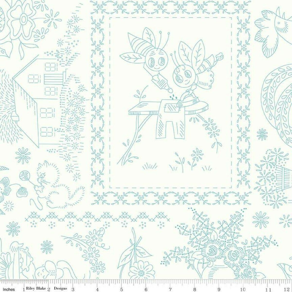 Granny Chic Vintage Embroidery Large Scale (Blue) by Lori Holt Sold by 1/2 yard