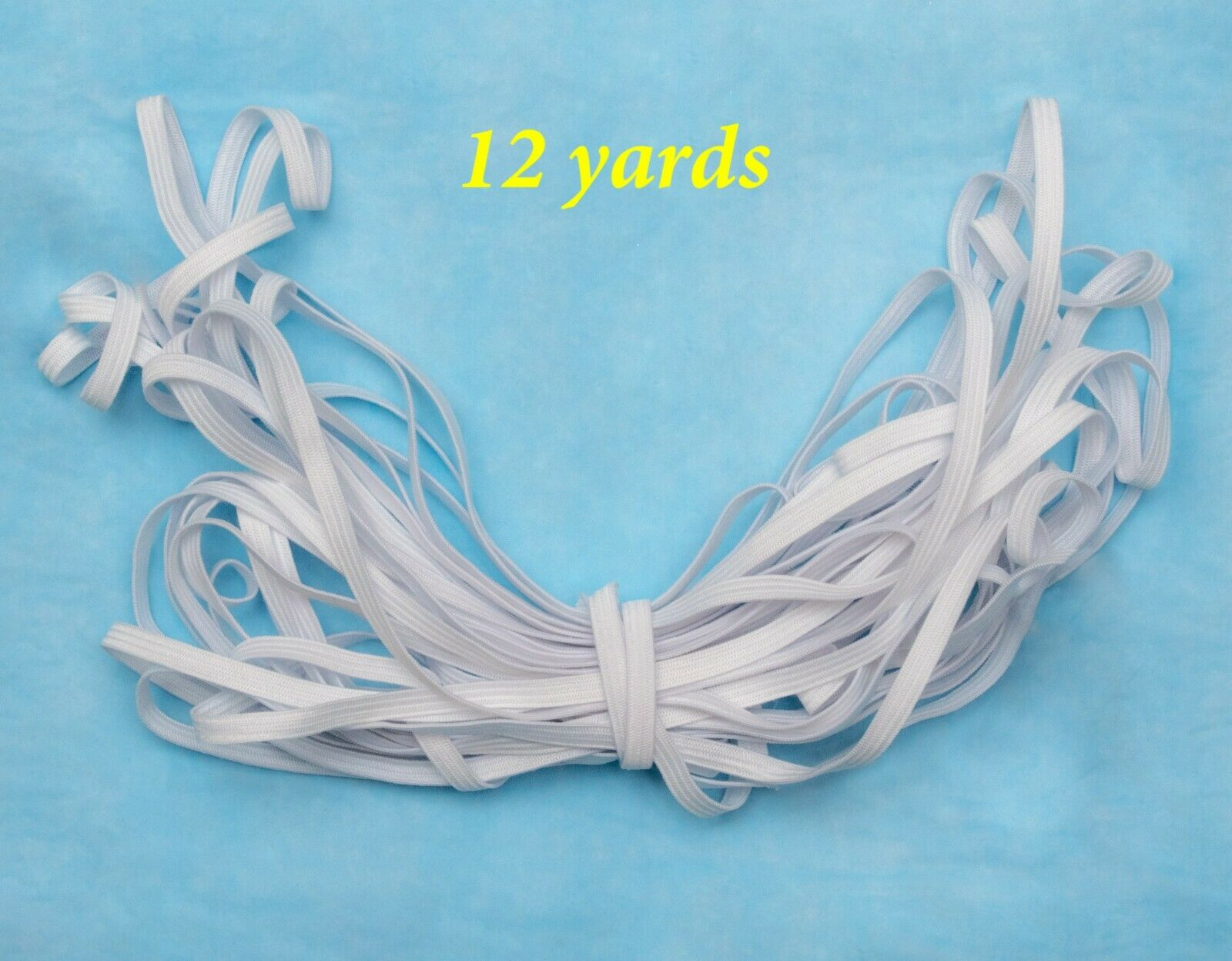 Braided White Elastic 1/4 x 12 yards