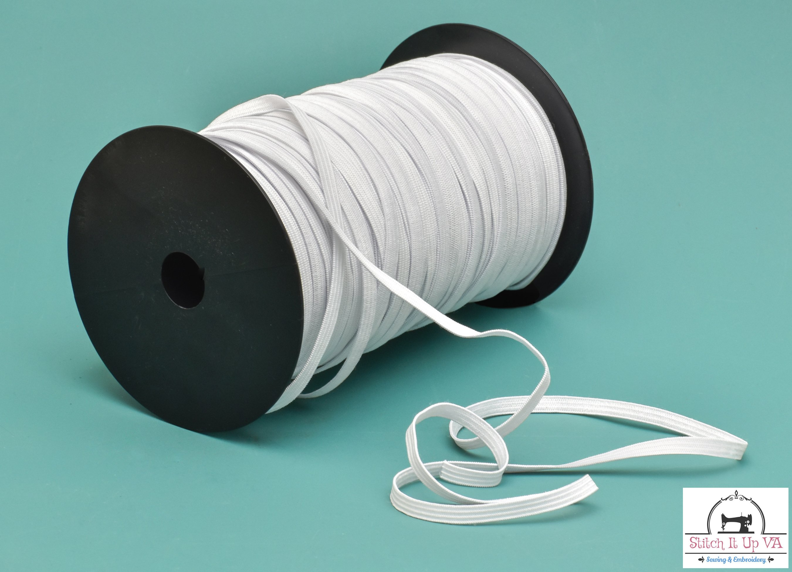 Braided White Elastic  1/4 x 220 yards (SOLD BY THE SPOOL)