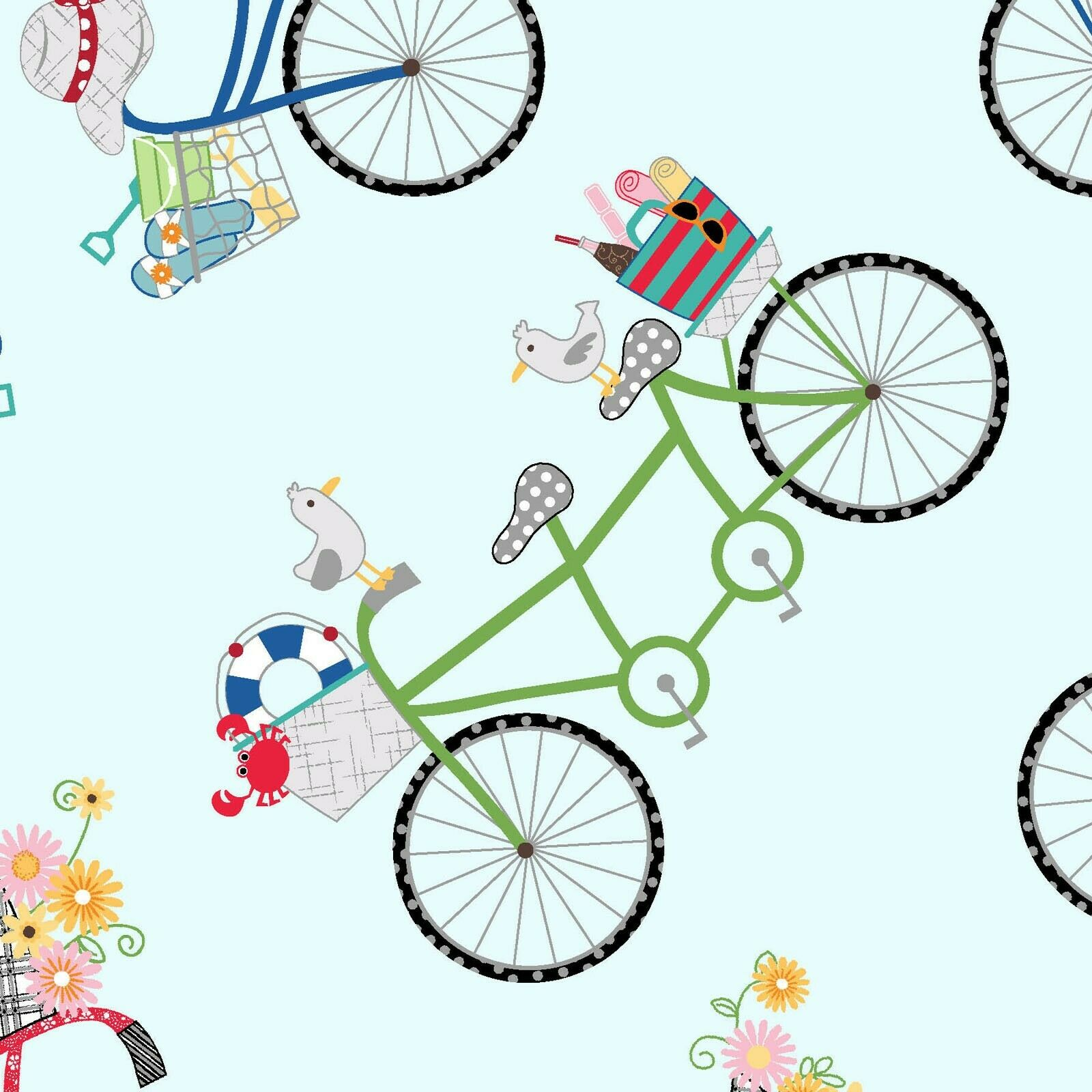 VINTAGE BOARDWALK FABRIC BICYCLES- Fresh Blue- SOLD BY YARD