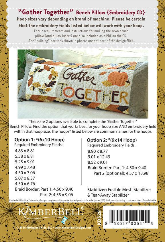 BENCH PILLOW - GATHER TOGETHER  ME CD by KIMBERBELL