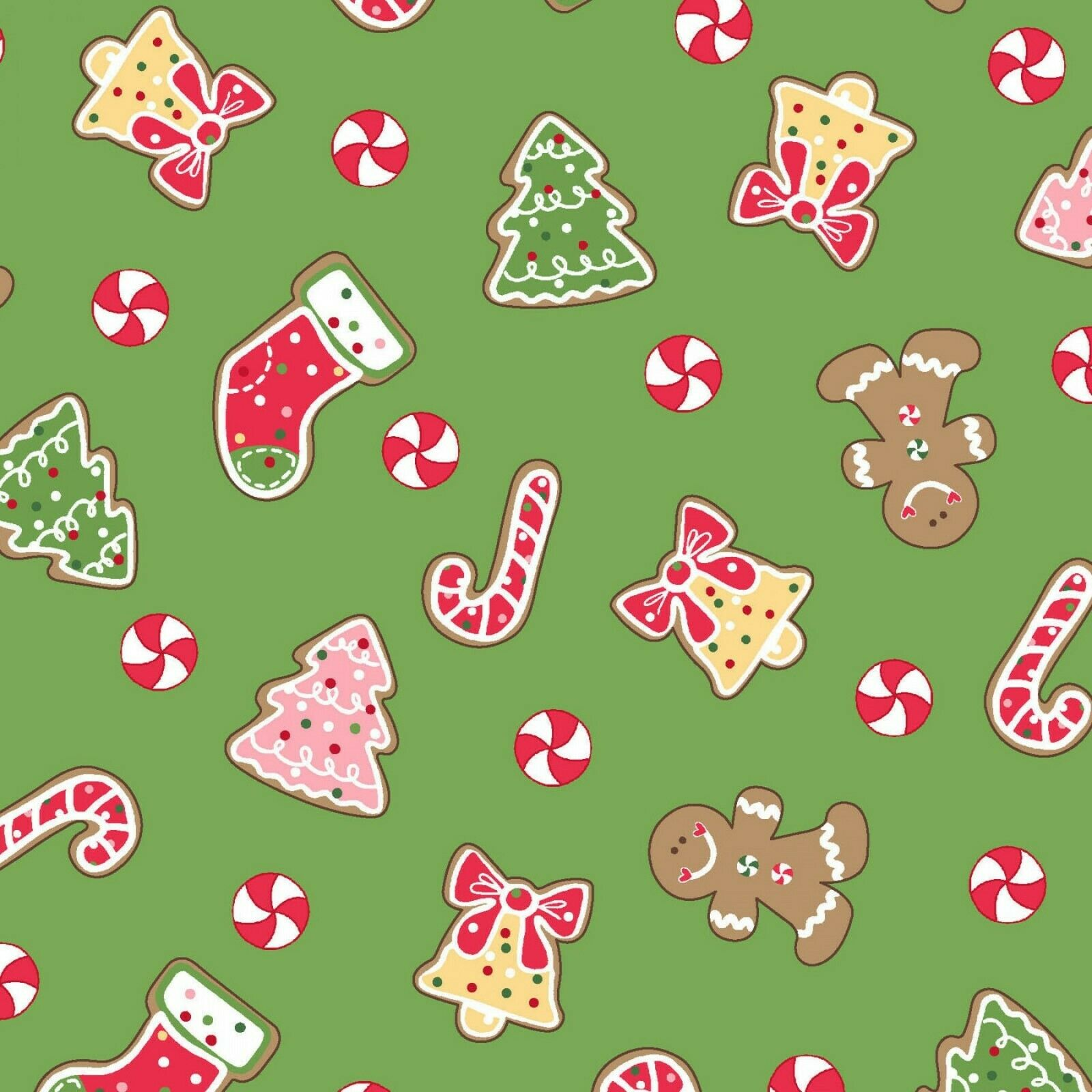 WE WHISK YOU A MERRY CHRISTMAS- CHRISTMAS COOKIE FABRIC -GREEN SOLD BY YARD