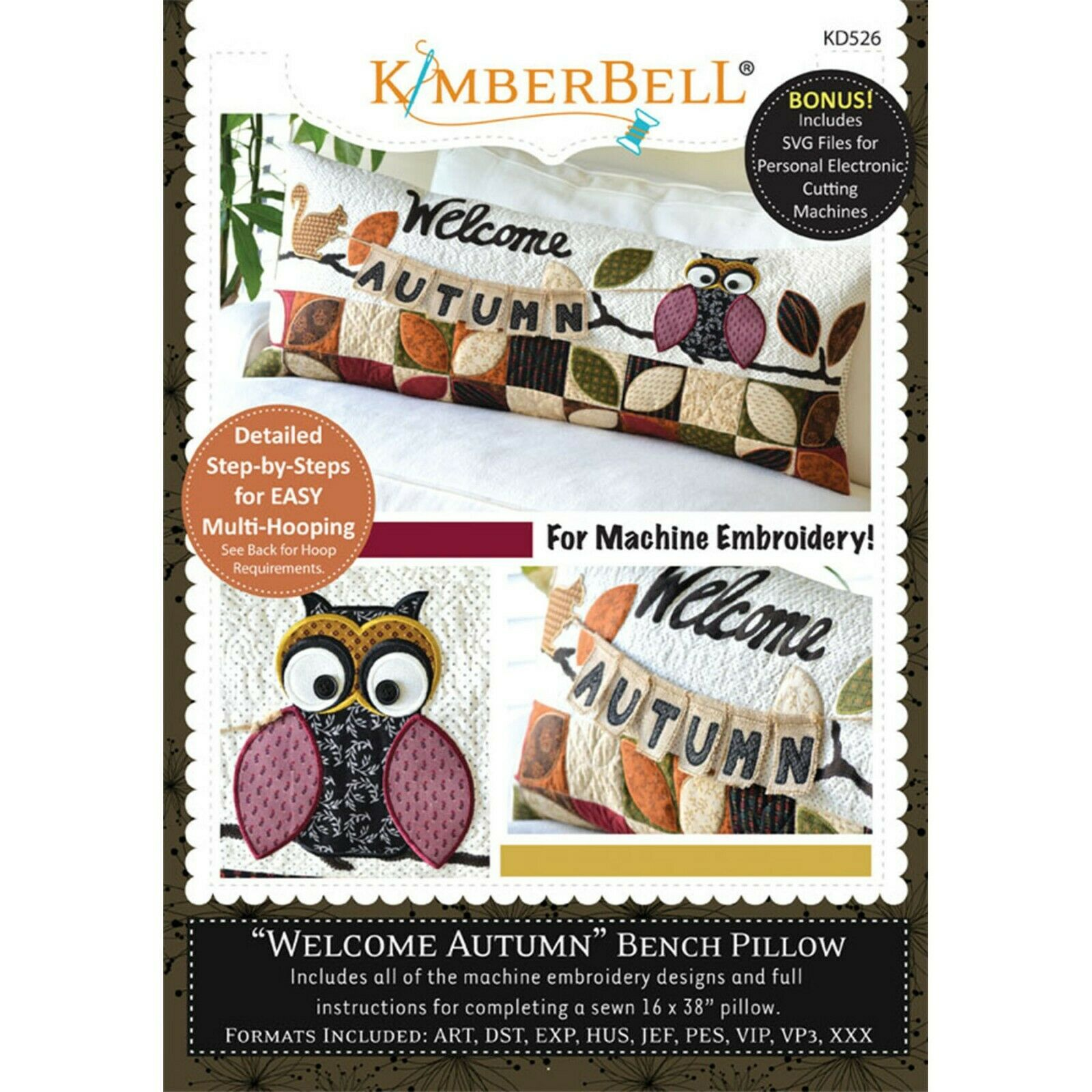 BENCH PILLOW -WELCOME AUTUMN -ME CD by KIMBERBELL