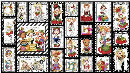 LORALIE DESIGNS SEW CURIOUS FABRIC PANEL BLACK (24 x 44) SOLD BY PANEL