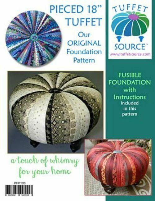 PIECED 18 TUFFET WITH FUSIBLE FOUNDATION w/ INSTRUCTIONS AND PATTERN