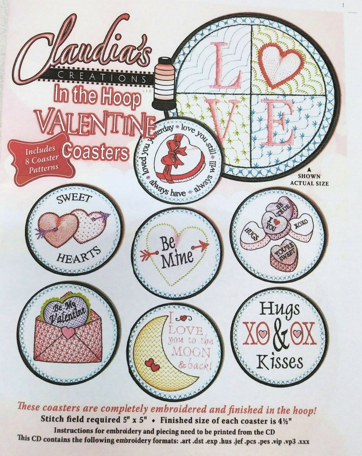 CLAUDIA'S CREATIONS IN THE HOOP VALENTINE COASTERS