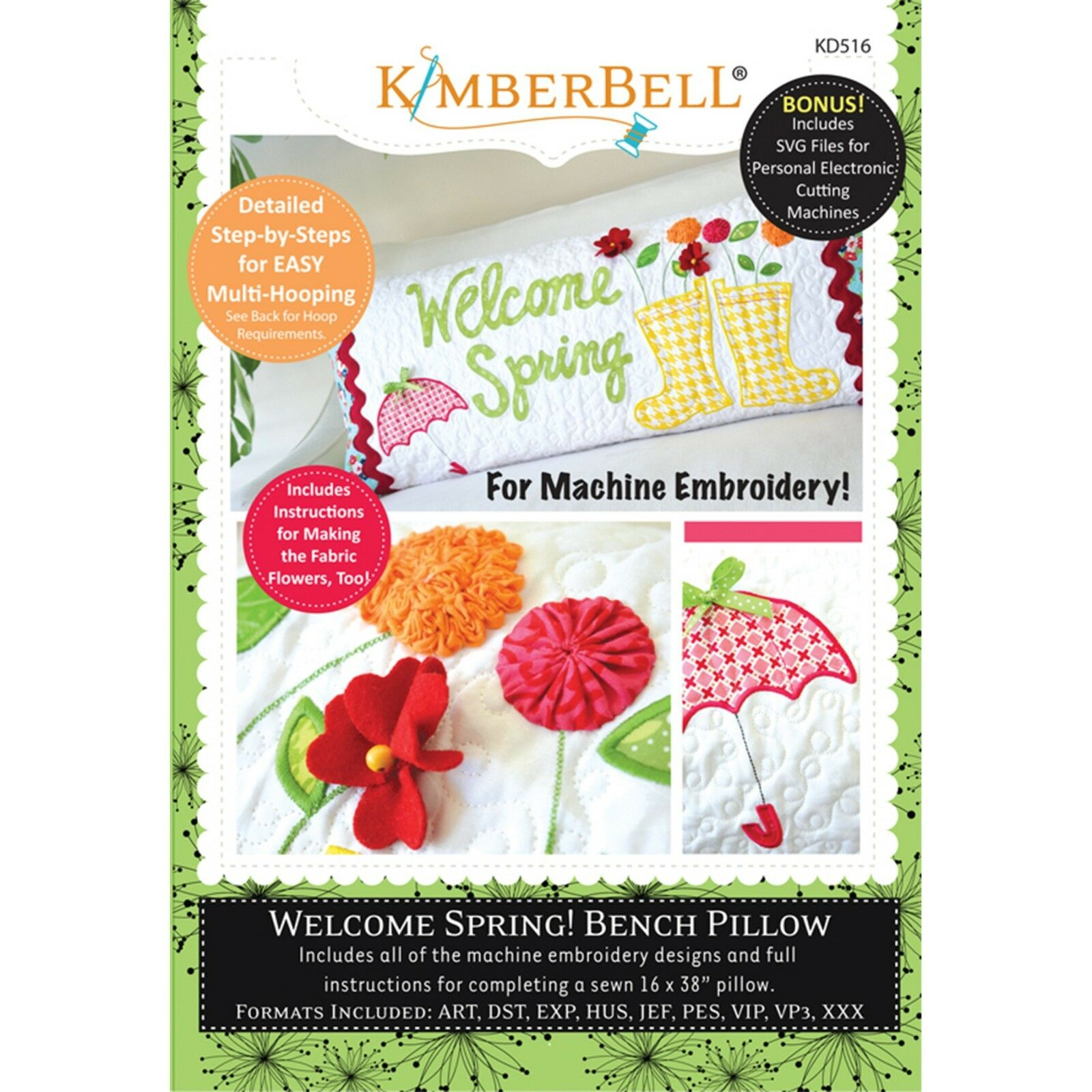 KIMBERBELLWELCOME SPRING! BENCH PILLOW (APRIL) – MACHINE EMBROIDERY CD