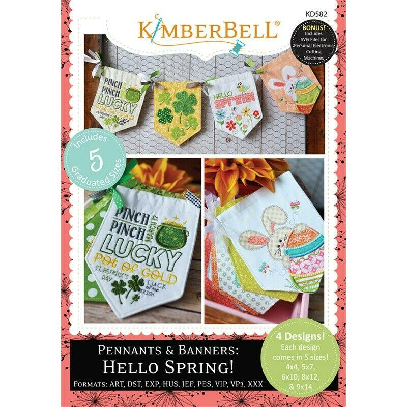 KIMBERBELL PENNANTS & BANNERS HELLO SPRING! MACHINE EMBROIDERY