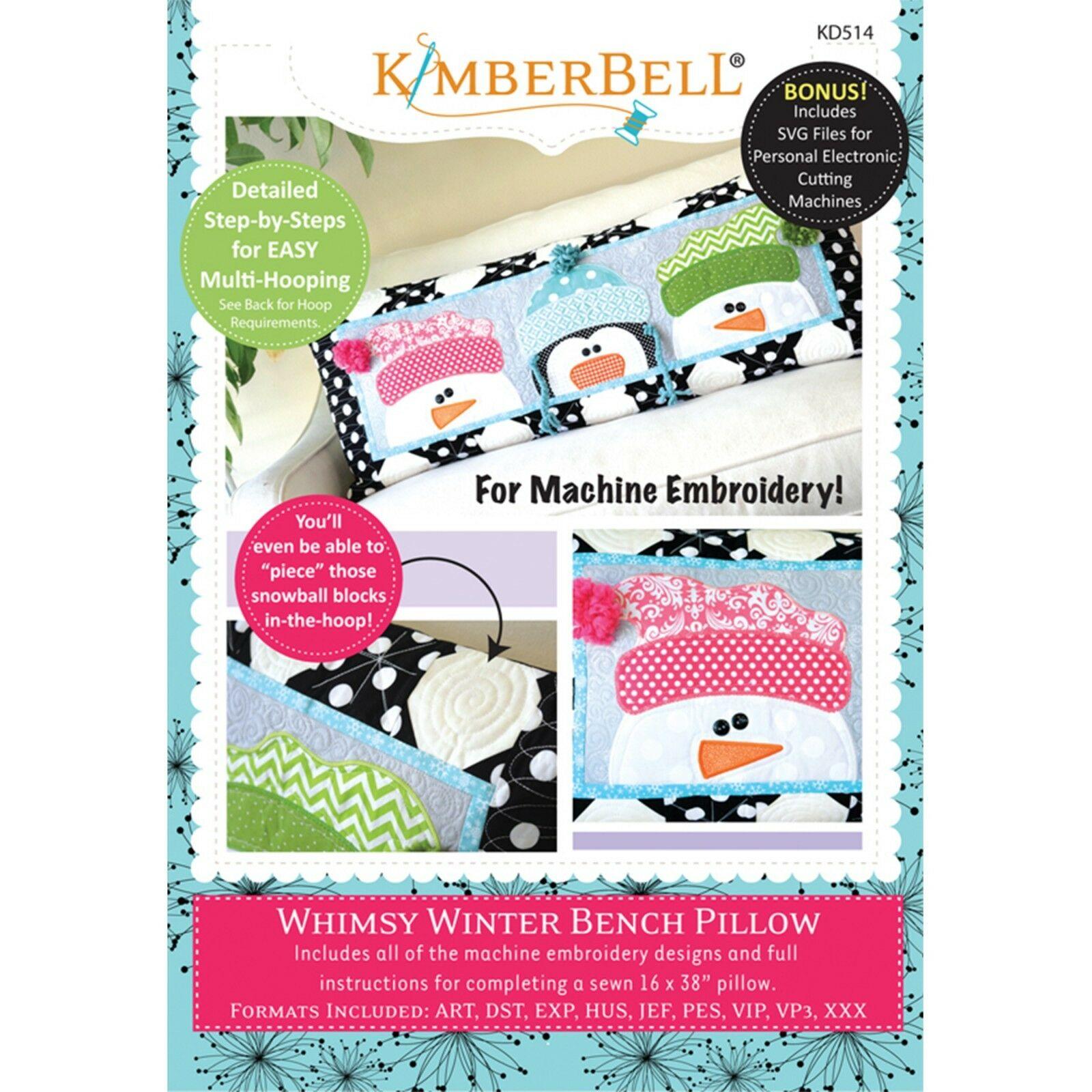 KIMBERBELLWHIMSY WINTER BENCH PILLOW (JAN) – MACHINE EMBROIDERY CD