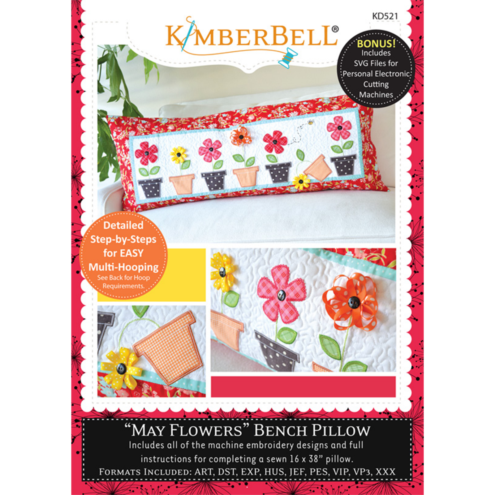 KIMBERBELL MAY FLOWERS BENCH PILLOW ME CD
