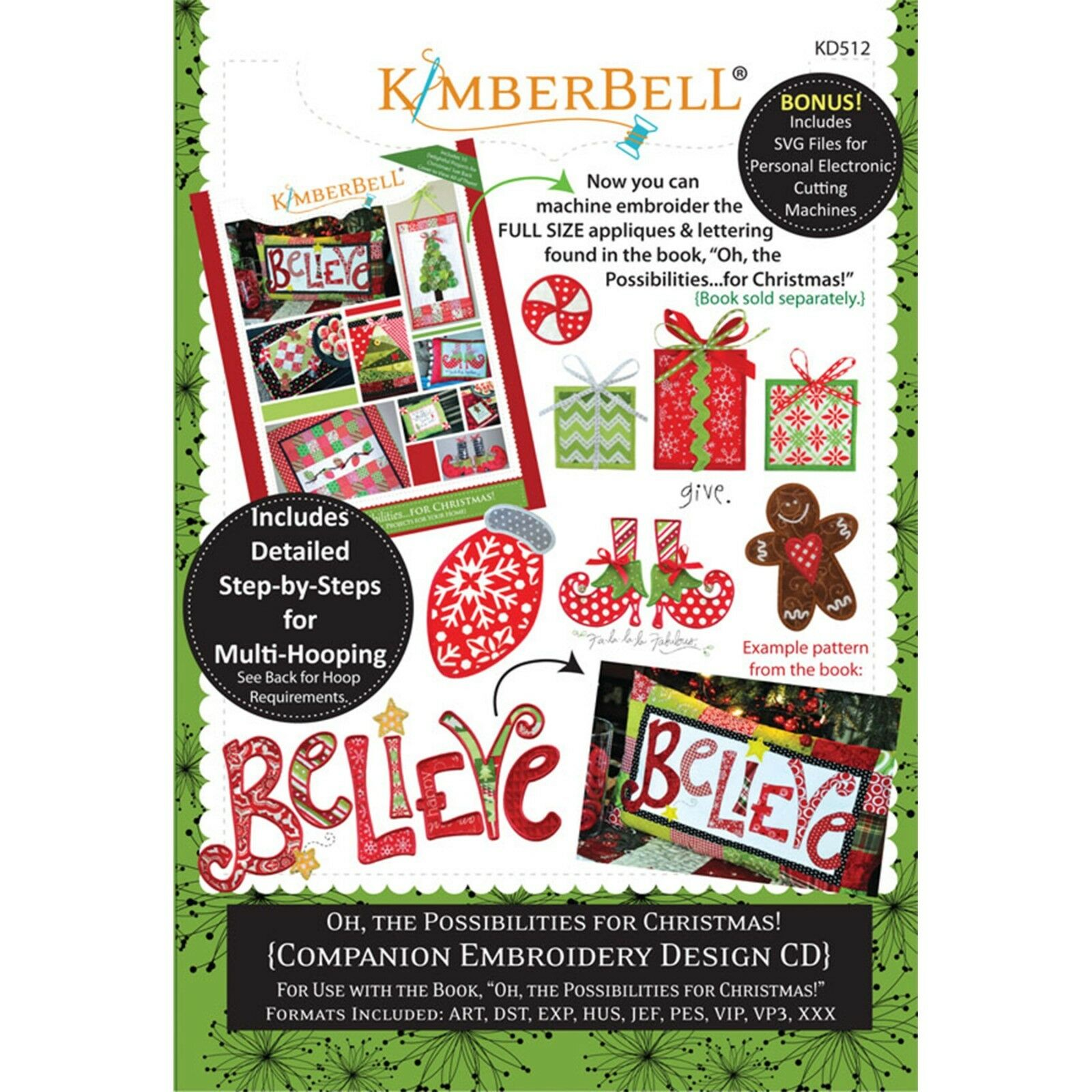 KimberbellOH THE POSSIBILITIES….FOR CHRISTMAS! MACHINE EMBROIDERY CD