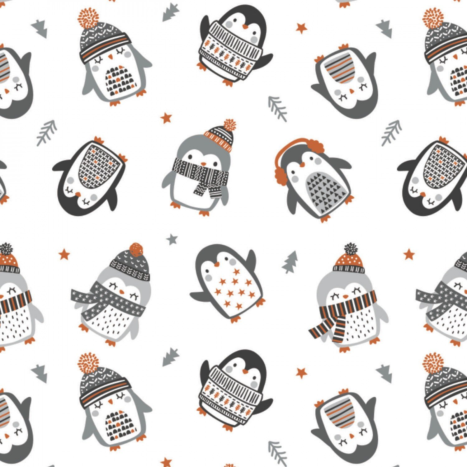 Cozy Penguin Toss Fabric by Camelot White